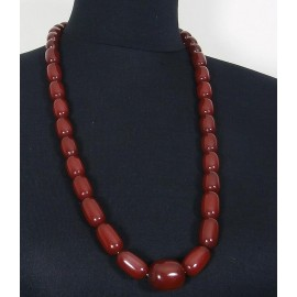 Art Deco Cherry Amber Bakelite Bead Necklace