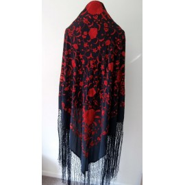 Vintage Silk Piano/ Canton Shawl Hand Embroidered Blooms