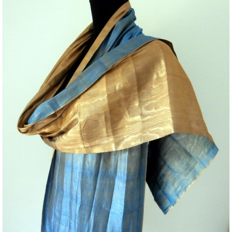 1920's Azure Blue and Gold Lame Fabric - Scarf - Shawl