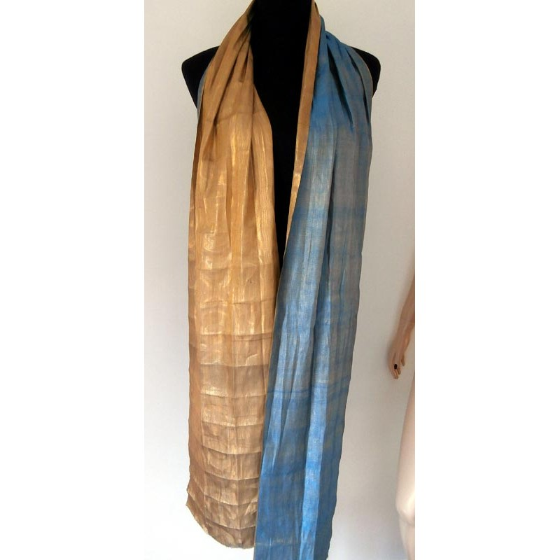 1920 S Azure Blue And Gold Lame Fabric Shawl Scarf Wrap