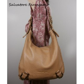 Salvatore Ferragamo Luxury Buttery Camel Leather Handbag