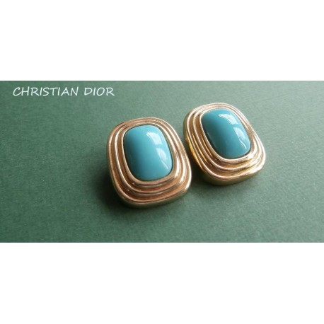 Christian Dior Signed Turquoise and Gold Vintage Earrings