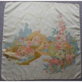 Liberty of London Dreamy English Thatched Cottage Vintage Silk Scarf