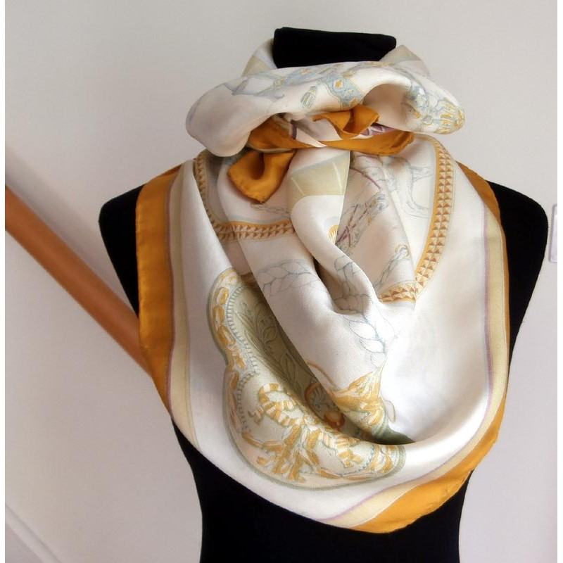 hermes 1962 grand apparat by jacques eudel silk scarf