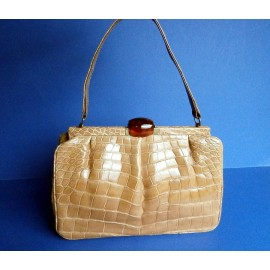Superb Crocodile Beverly Bag With Huge Bakelite Clasp