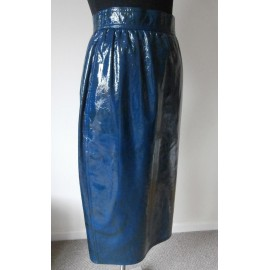 Amazing Ungaro Patent Leather Designer Vintage Pencil Skirt 1980's