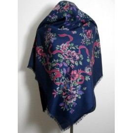 Laura Ashley Botanical Print Large Wool Vintage Shawl