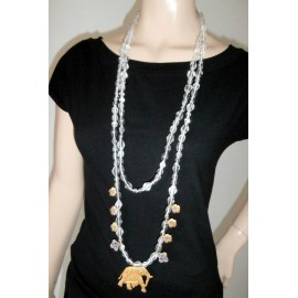 Wright & Teague Amazingly Long Elephant Necklace and Milefoire Vintage Necklace