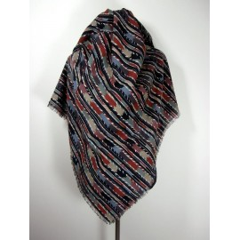 Collier Campbell Designed For Jaeger Huge Wool Vintage Shawl - Wrap