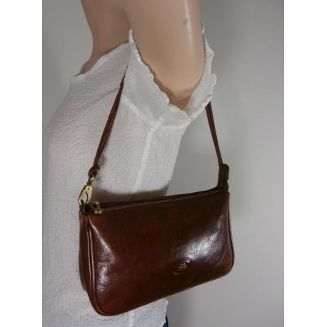 The Bridge Conker Brown Leather Handbag Clutch Bag