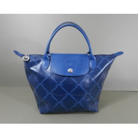 Longchamp Le Pliage Logo Denim Blues Tote Handbag