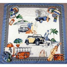 Raffles Hotel 1920's Costume and Rolls Royce Cars Vintage Silk Scarf