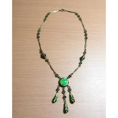 Art Deco 1920s Necklace Signed Czech Green Foiled Stones