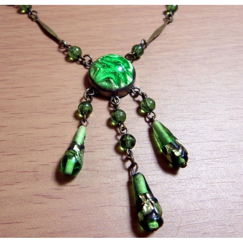 Art Deco 1920 S Necklace Signed Czech Green Foiled Stones