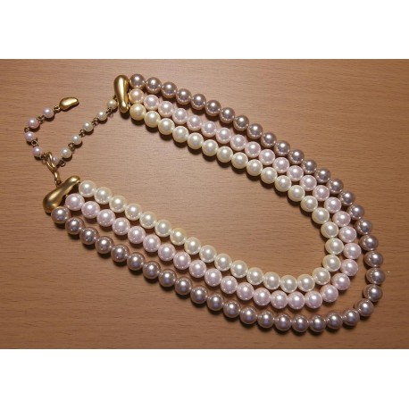 Marvella Multi Strand Pearl 3 Colored Signed Necklace
