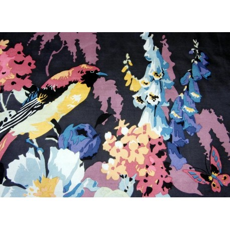 Liberty Amazing Bird Butterfly and Exploding Blooms Vintage Silk Scarf