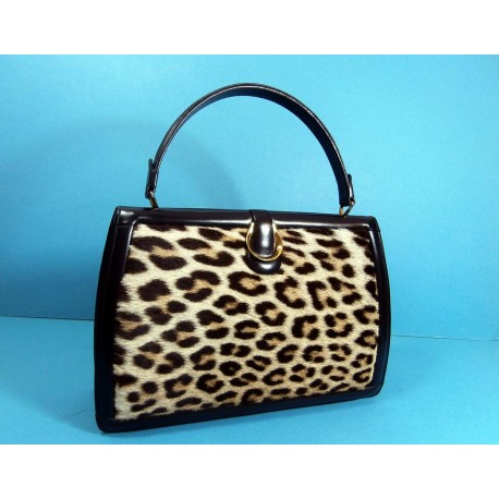Luxurious Leopard Skin and Leather Vintage Handbag