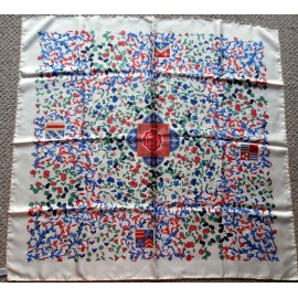 Beckford Top Quality Silk Scarf, Tudor Fleur de Lys Thistles Cornflowers and Fruit