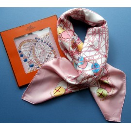 Hermes Grande Roue Unused Vintage Silk Scarf with Packaging