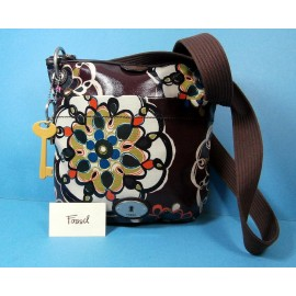 Immaculate FOSSIL Key-Per Oilcloth Doodles Pattern Crossbody Messenger Bag