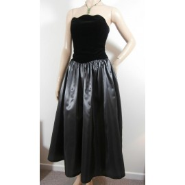 Laura Ashley Vintage Taffeta and Velvet Evening Dress