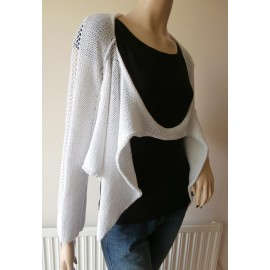 Crea Concept Quirky Lagenlook Cotton Mix Loose Knit Jumper