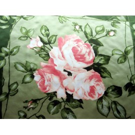 1950's Roses and Rose Bud Silk Satin Scarf