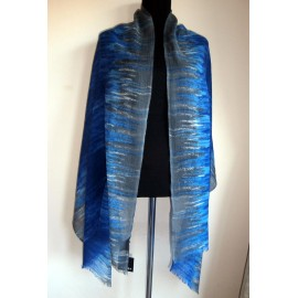 Jaeger Huge Silk and Wool Scarf Shades of Lapis - Azure - Cobalt