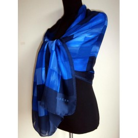Jaeger Azure, Persian Blue, Cornflower Huge Italian Silk Scarf