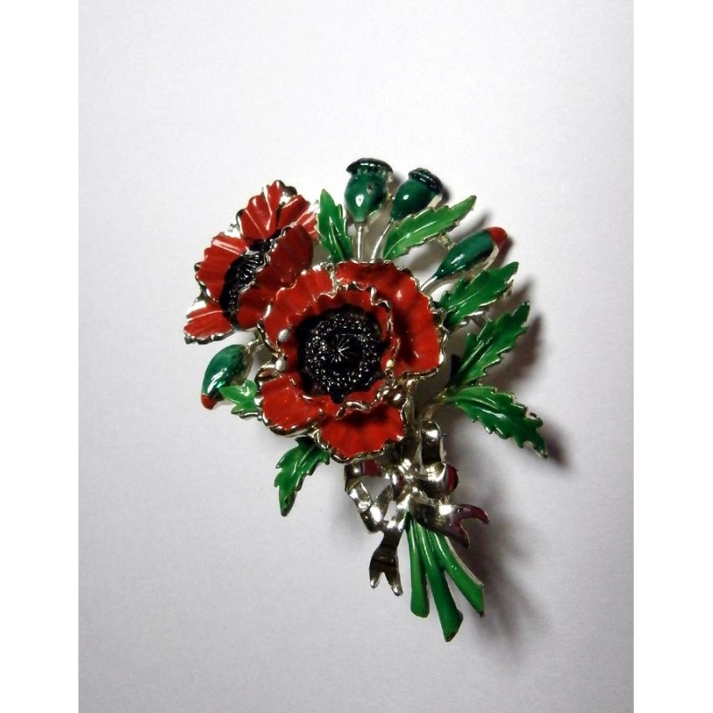a9604800273 Exquisite Vintage Large Enamel Poppy Flower Brooch August Birthday -  Remembrance Pin