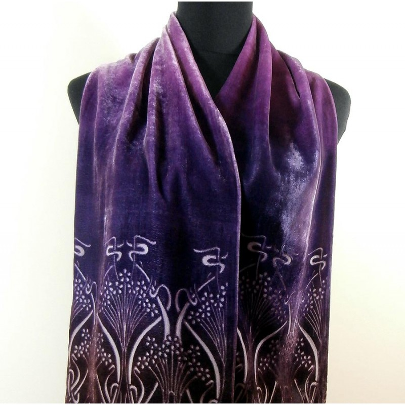 liberty graduated colour silk velvet ianthe vintage scarf