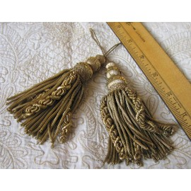 Vintage Pair Metallic Gold Tassles with Caterpillars Superb
