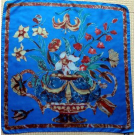 Liberty Bold Bright Vase of Flowers and Butterfly Vintage Silk Scarf