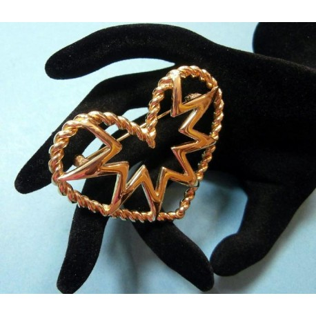 Givenchy Signed Large Vintage Heart Brooch - Pin Gold Tone