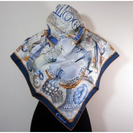 Chloe Top Quality Silk Vintage Boudoir Blues Scarf New