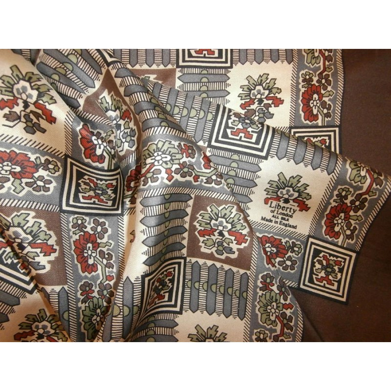4c802812813d2 Liberty of London 1930's Colors and Printed Design Vintage Silk Scarf