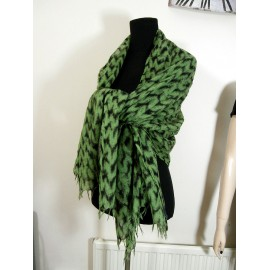 Oska Huge Linen Green and Black Scarf - Shawl - Wrap