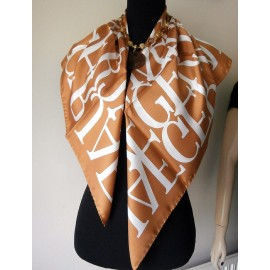 Jaeger Italian Smart Classic Logo Ginger Snap Silk Vintage Scarf