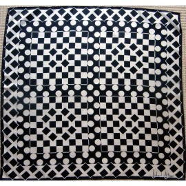 Richard Allan Dramatic Geometric Monochrome Vintage Silk Scarf