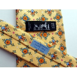 Hermes Silk Tie Summer Yellow with Azure Blue - Tangerine - Pink - Fern Green and more