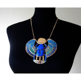 Dramatic Egyptian Revival Thomas Fattorini Enamel Scarab Vintage Necklace and Box