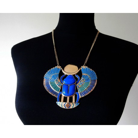 Dramatic 1970's Egyptian Revival Thomas Fattorini Enamel Scarab Necklace and Box