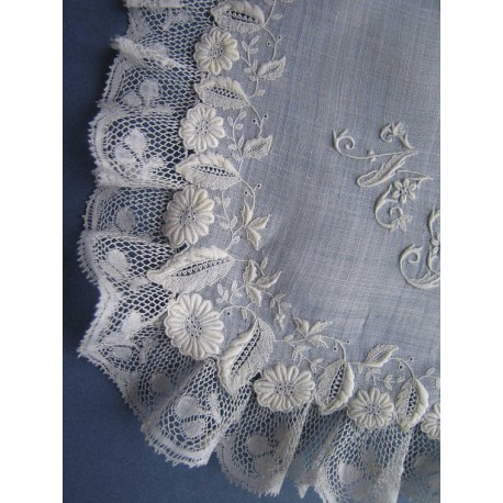 Antique 19th c French Whitework Embroidered Bridal Handkerchief w Monogram