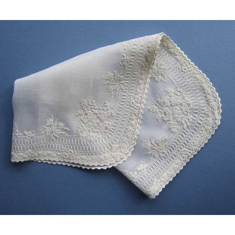 Antique Whitework Embroidered Large Handkerchief c.1850