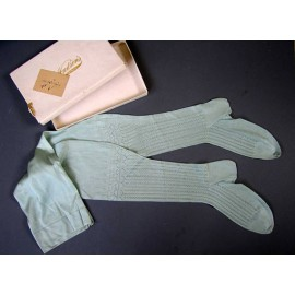 Antique Edwardian Mint Green Silk Stockings - Unworn - Original Box