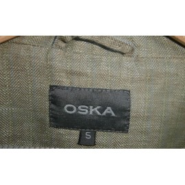 Oska Linen Jacket Herringbone Khaki Green with Denim Blue Stripe