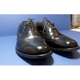 Loake Brogue Black Shiny Leather Shoes - Lace Up Brogues