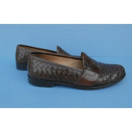 Cole Haan Penny Loafer Woven Rich Conker Brown Leather Shoes - Loafers - Driver