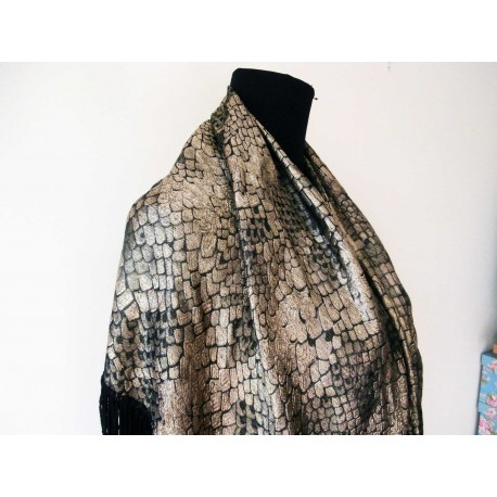 1920's Luxurious and Collectible Metallic Lame Shawl Liquid Gold and Gunmetal Silver