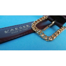 Jaeger Chain Link Italian Leather Vintage Belt